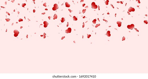 Heart falling confetti isolated pink background. Pink fall hearts. Valentine day decoration. Love element design, hearts-shape confetti invitation wedding card, romantic holiday illustration
