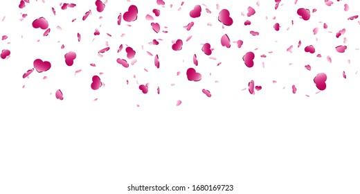 Heart falling confetti isolated white background. Pink fall hearts. Valentine day decoration. Love element design, hearts-shape confetti invitation wedding card, romantic holiday illustration