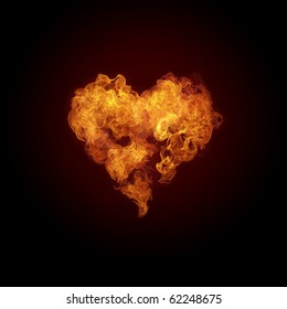 Heart in fire flames isolated on black background.