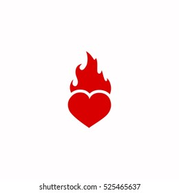 heart fire icon, on white background