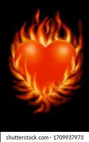 Heart in fire, love and peace