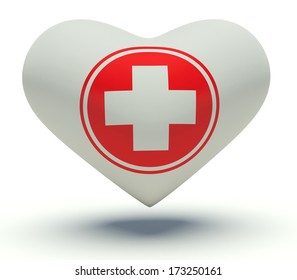 Heart With First Aid Medical Cross Sign 3d Render Illustration In White And Red