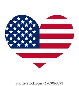 Heart with the flag of america icon, flat style. Isolated on white background. illustration.