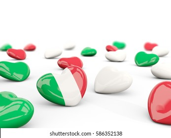 Heart with flag of italy isolated on white. 3D illustration