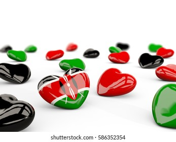 Heart with flag of kenya isolated on white. 3D illustration