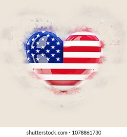 Heart with flag of united states of america. Grunge 3D illustration