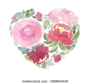 Heart of flowers. Valentine's Day. Love. Watercolour illustration.