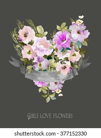 Heart of flowers. Watercolor illustration with ribbon for text. Also can be used for wedding design, Valentine's day, birthday, mother's day and so on. - Shutterstock ID 377152330