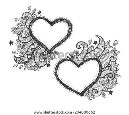 Heart Frames Text Doodle Ornaments Stock Illustration 204080662 ...