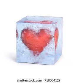 Heart frozen inside ice cube 3d rendering