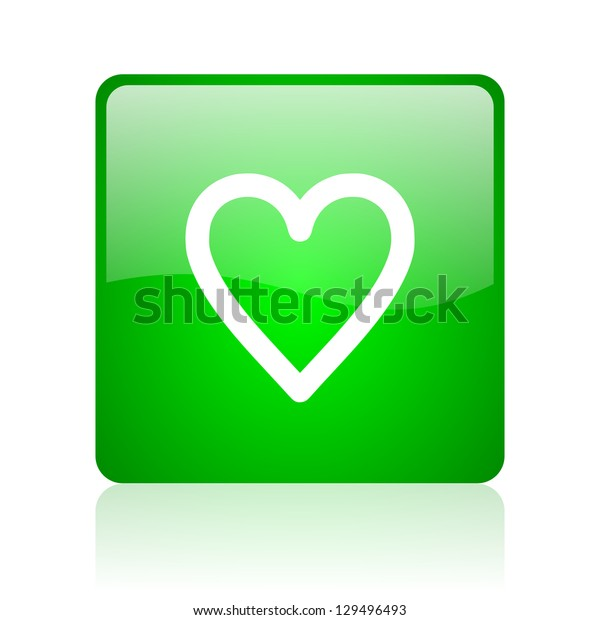 heart green square web icon on white background