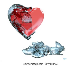 Heart half covered in ice, with cracks, thaws. Broke love. Isolated on white background