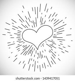 Heart with Hand Drawn Vintage Bursting Rays. Retro Design Element