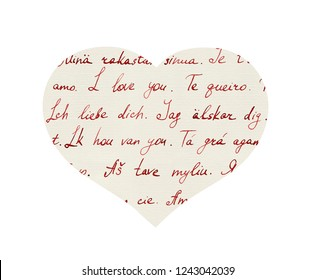"""Heart with hand written letters """"I love you"""" in different languages (english, french, german, spanish, polish and others). Vintage hand written letter in paper textured heart shape for Valentine day"""