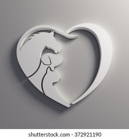 Heart Horse, Dog and Cat love.
