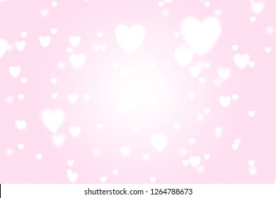 Heart icon bokeh on pink color background for Christmas festival or winter season contents or for wallpaper or paper for contents about winter for love content or valentine day or for wallpaper.