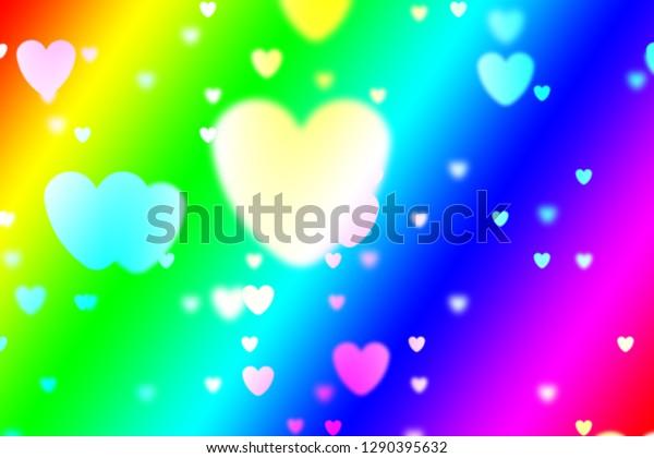 Heart Icon Bokeh On Rainbow Color Stock Illustration 1290395632