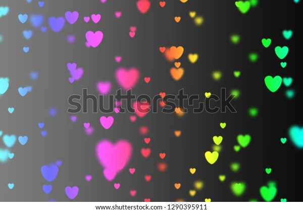 Heart Icon Bokeh On Rainbow Color Stock Illustration 1290395911
