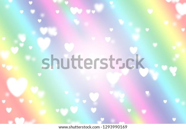Heart Icon Bokeh On Rainbow Color Stock Illustration 1293990169
