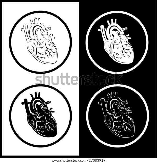 Heart icons. Black and white.