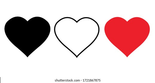 Heart icons, set of heart illustrations, icon set, love symbols, social networks Red heart shaped web button Isolated on a white background Valentine's Day. Delivering Love, Illustaration