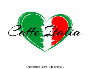 """heart with the image of the flag of Italy and the inscription """" Italian Italian cafe"""""""