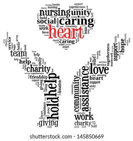 heart info-text graphic and arrangement concept on white background (word cloud)