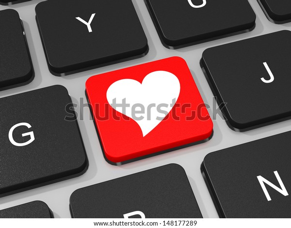 Heart key on keyboard of laptop computer. 3D illustration.