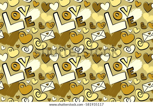 Heart and letters on a yellow background. Romantic seamless pattern with watercolor effect.