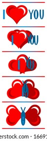 Heart and letters are transforming in a butterfly.