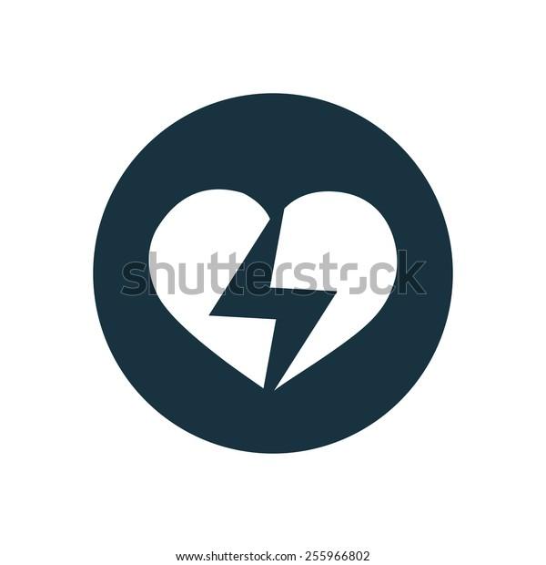 heart lightning icon on white background