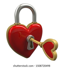 Heart lock with golden key - photo realistic isolated 3D illustraion - front view with the key inserted into the lock.