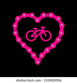 Heart Made of Bike or Bicycle Chain. Flat Monochrome Bike Chain. Pink Heart Background plus Bicycle Sample Icon.