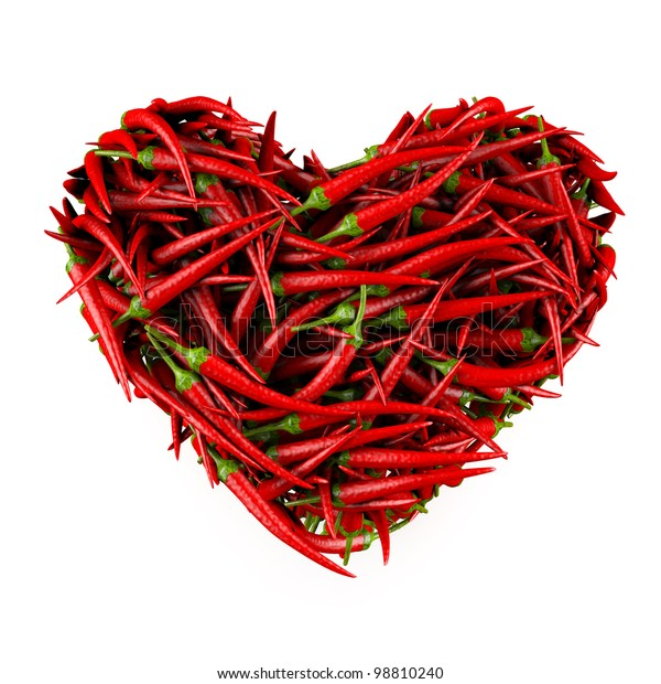 Heart made of Chili Pepper. Isolated on a white. 3D High-quality rendering