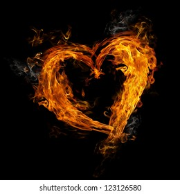 Heart made of fire on black background