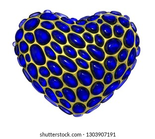 Heart made of golden shining metallic 3D with blue glass isolated on white background. 3d rendering