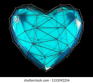 Heart made in low poly style blue color isolated on black background. 3d rendering