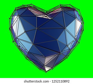 heart made in low poly style blue color isolated on green background. 3d rendering