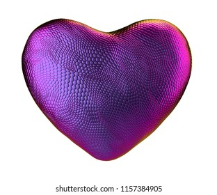 Heart made of natural snake skin texture purpur color isolated on white. 3d rendering