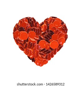 Heart made from red blood cells  isolated on white, Blood donation campaign concept, 3d illustration