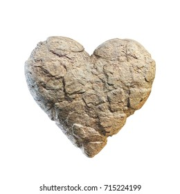 Heart made of stone, rocky heart 3d rendering