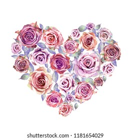 Heart made of watercolor roses. Excellent for the design of wedding invitations, printing products, prints on clothes.