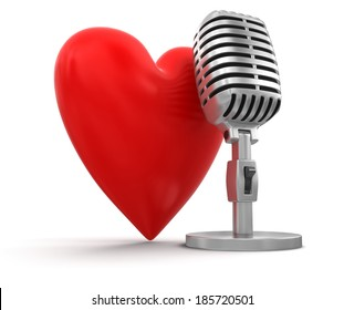 heart with Microphone (clipping path included)