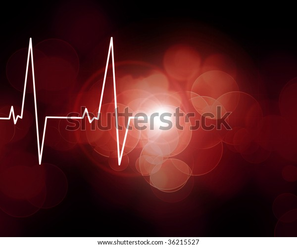 Heart monitor on a dark red background