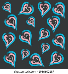 Heart Multicolored .Valentine Day. Beautiful Greeting .Card Three Hearts. One Grunge Background. LGBT Color Illustrator