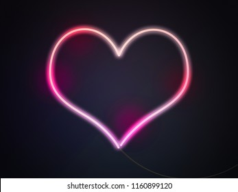 Heart Neon Lights Background
