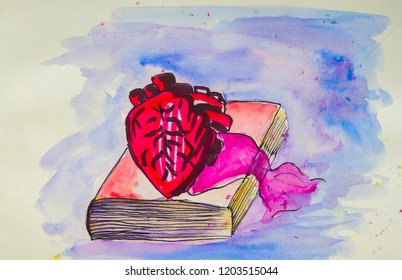 Heart on a book watercolor painting