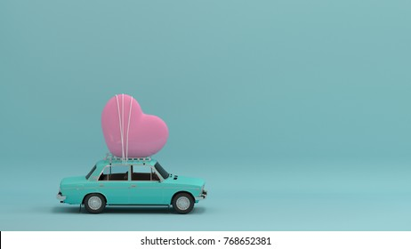 Heart on the car background copy space minimal 3d illustration concept valentines day background Holidays card  love colorful find love