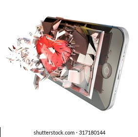 Heart on cell phone. Broken glass mobile phone with Red Heart, symbol of love. Relationship on social network or app concept on smartphone and devices.
