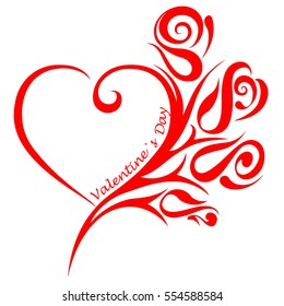 Heart and ornament and the word valentine`s day, isolated on white